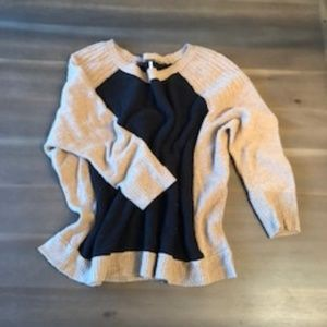 Free People Black & Tan Color Block Sweater